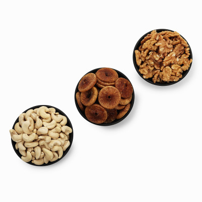 Premium Value Pack of Walnut, Fig, and Cashew (Akhrot, Anjeer, Kaju)