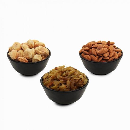 Premium Value Pack of Almond, Green Raisin, and Apricot (Badam, Hari Kishmish, Khubani)