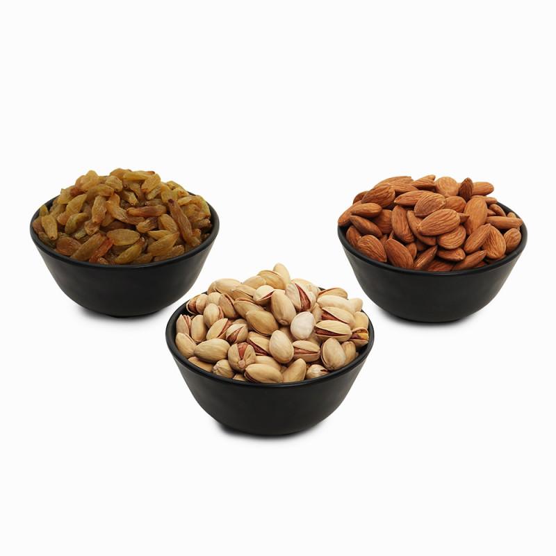 Premium Value Pack of Almond, Pistachio, and Green Raisin (Badam, Pista, Hari Kishmish)