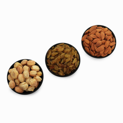 Premium Value Pack of Almond, Green Raisin, and Apricot (Badam, Hari Kishmish, Khubani)