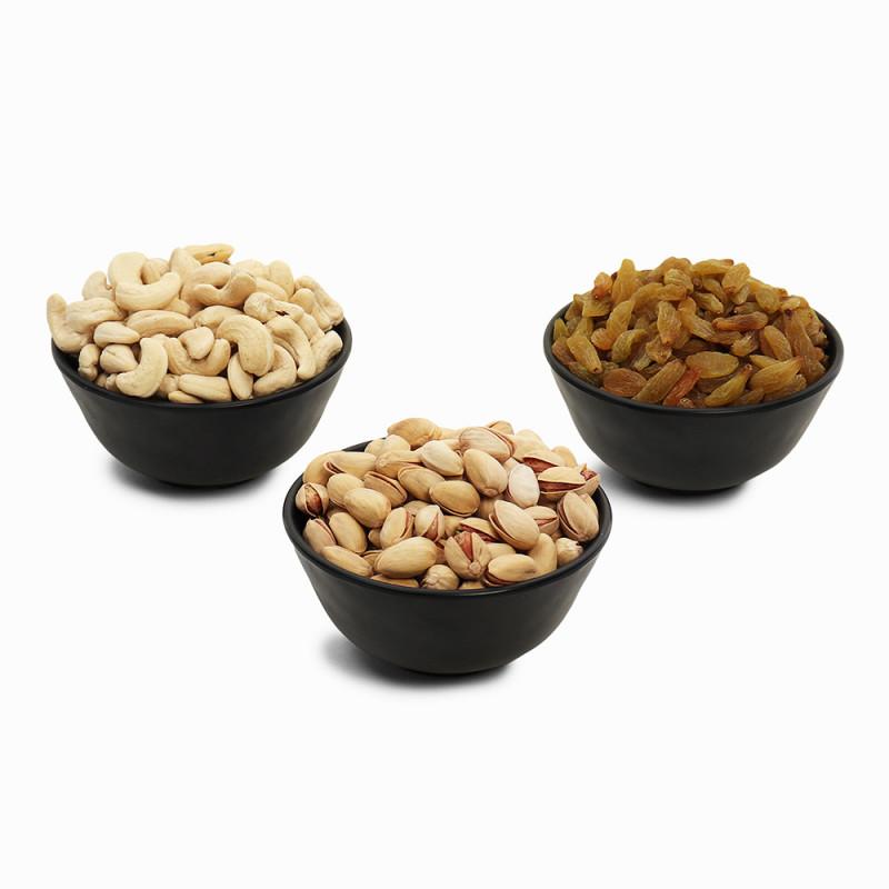 Premium Value Pack of Cashew, Pistachio, and Green Raisin (Kaju, Pista, Hari Kishmish)