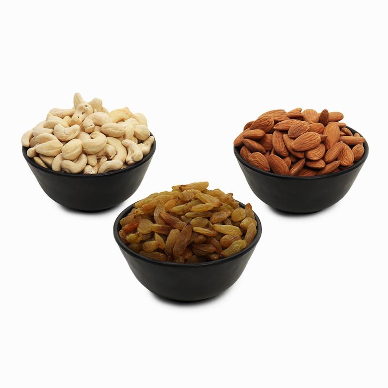 Premium Value Pack of Green Raisin, Cashew and Almond (Hari Kishmish, Kaju, Badam)