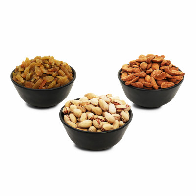 Premium Value Pack of Mamra, Pistachio, and Green Raisin (Mamra, akhrot, Hari Kishmish)