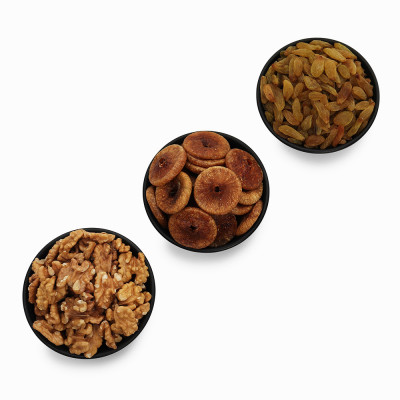 Premium Value Pack of Fig, Green Raisin, and Walnut (Anjeer, Hari kishmish, Akhrot)