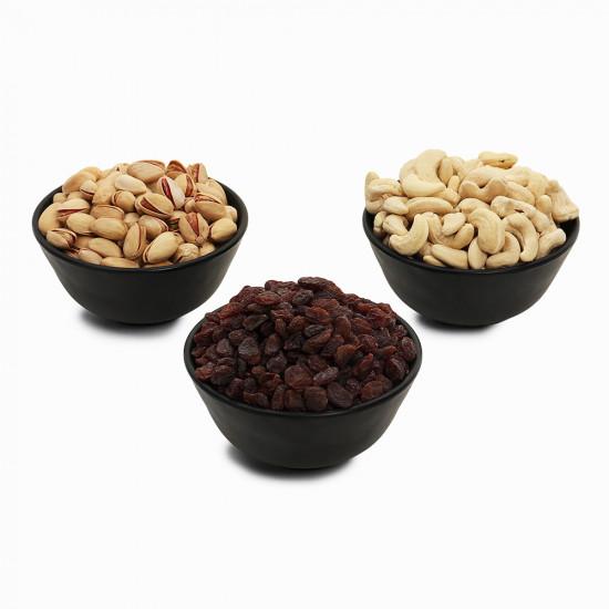 Premium Value Pack of Pistachio, Cashew, and Red Raisin (Pista, Kaju, Lal kishmish)