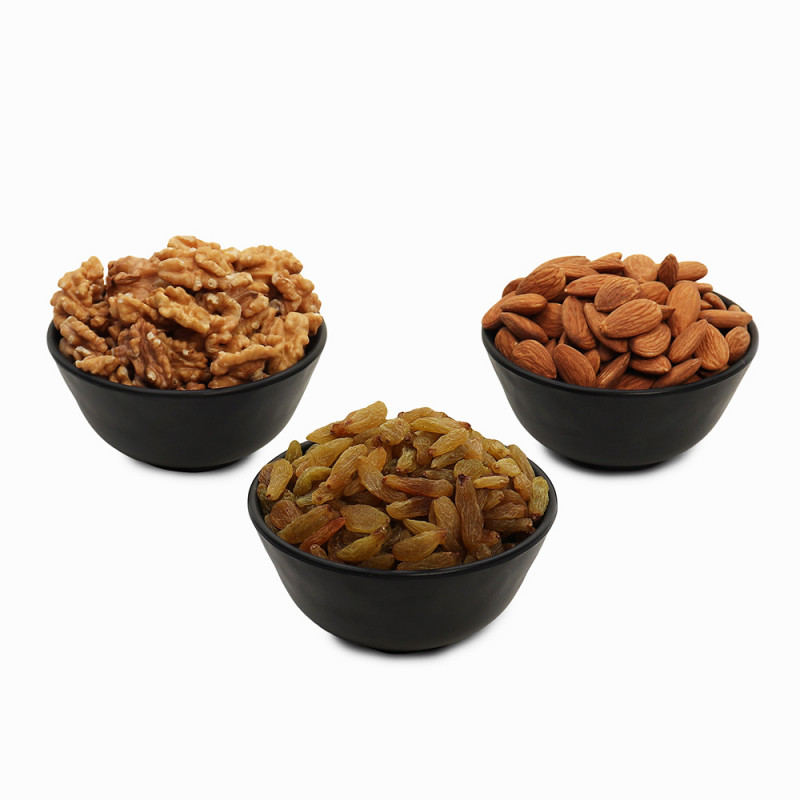 Premium Value Pack of Walnut, Green Raisin and Almond (Akhrot, Hari Kishmish, Badam)