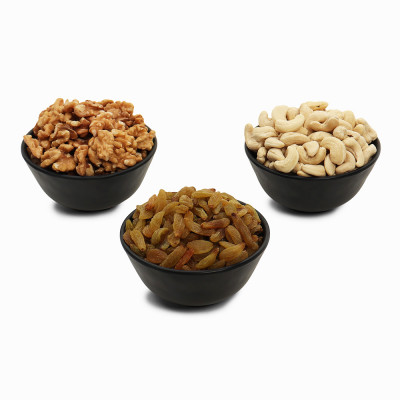Premium Value Pack of Walnut, Green Raisin, and Cashew (Akhrot, Hari Kishmish, Kaju)
