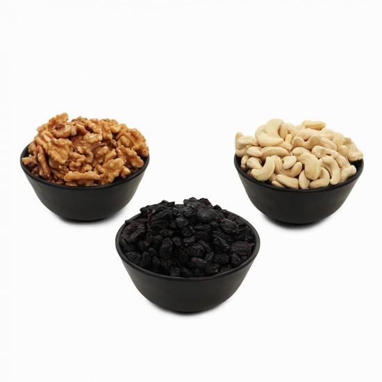 Premium Value Pack of Walnut, Cashew and Black Raisin (Akhrot, Kaju, Kali Kishmish)